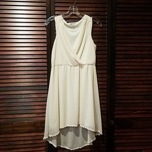 Cream Hi-Lo Vneck Crochet Bottom Sleeveless Dress